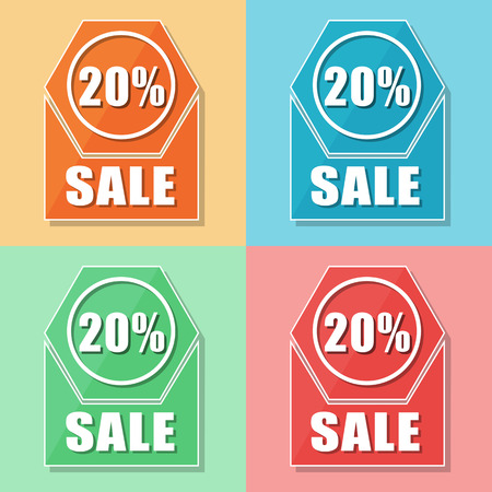 selling off: 20 percentages sale, four colors web icons, flat design, business shopping concept, vector Illustration