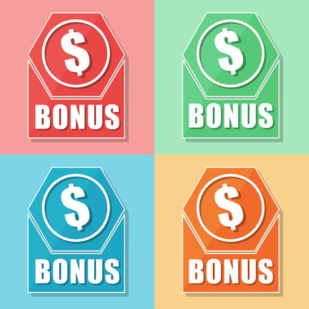 extra money: bonus and dollar sign, four colors web icons, flat design, business finance concept, vector
