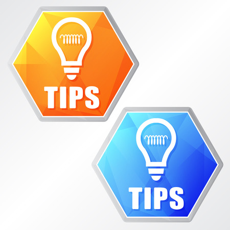 uphold: tips and bulb sign, two colors hexagons web icons, flat design, business support concept, vector