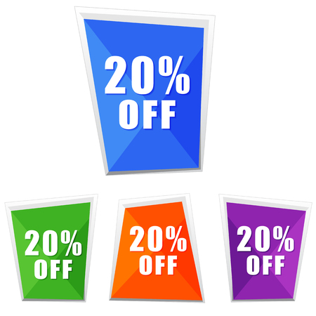 selling off: 20 percentages off, four colors labels, flat design, business shopping concept, vector Illustration