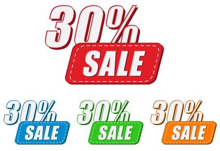 percentages: 30 percentages sale, four colors labels, flat design, business shopping concept, vector