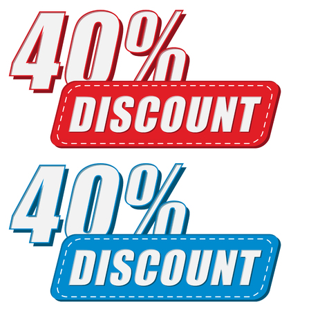 selling off: 40 percentages discount in two colors labels, business shopping concept, flat design, vector