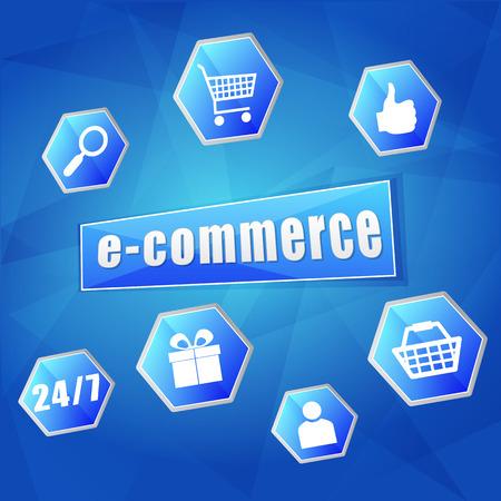 elektronische handel en bedrijfs Internet-conceptentekens - tekst en symbolen in zeshoeken over blauwe achtergrond, vlak ontwerp, vector Vector Illustratie
