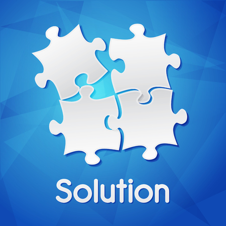 ingenious: solution and puzzle pieces - white text with symbol over blue background, flat design, business creative concept, vector Illustration