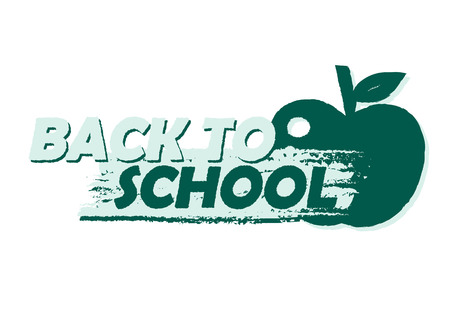 teenagers learning: back to school text with apple symbol, education concept, drawn banner, vector