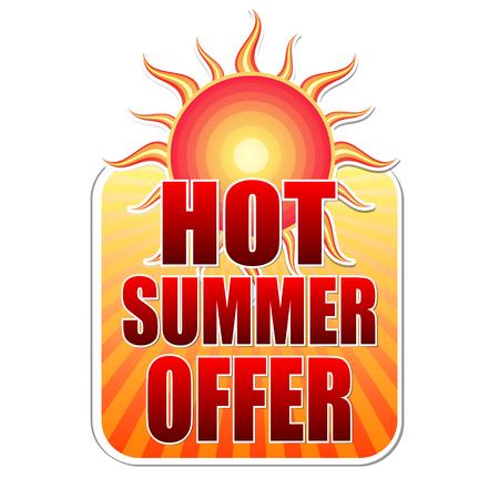 sunrays: hot summer offer banner - text in yellow label with red sun and orange sunrays, business concept, vector
