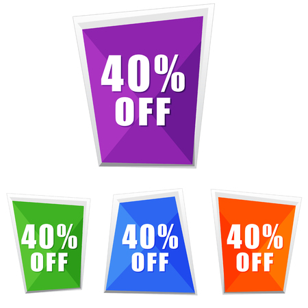 selling off: 40 percentages off, four colors labels, flat design, business shopping concept