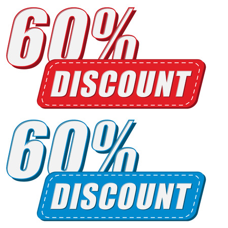 selling off: 60 percentages discount in two colors labels, business shopping concept, flat design Illustration