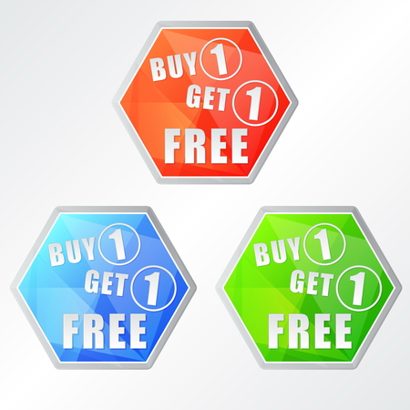 buy one get one free: buy one get one free, three colors hexagons labels, flat design, business shopping concept