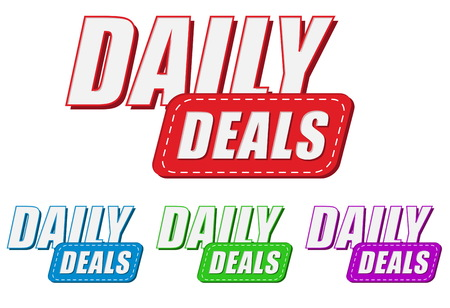 selling off: daily deals, four colors labels, flat design, business shopping concept