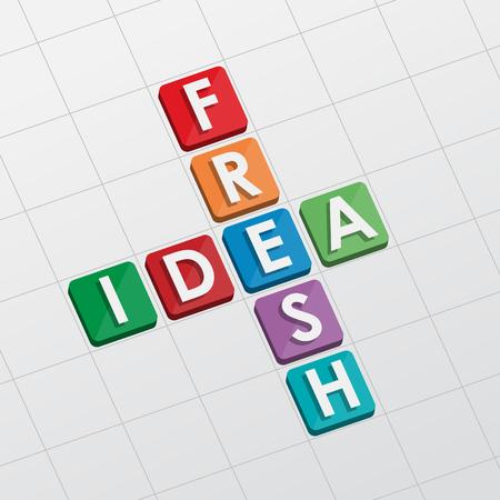 fresh idea: fresh idea, crossword - text in flat design, business creative concept