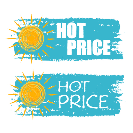 abatement: hot price banners - text in blue drawn labels with yellow sun symbol, business seasonal shopping concept Illustration