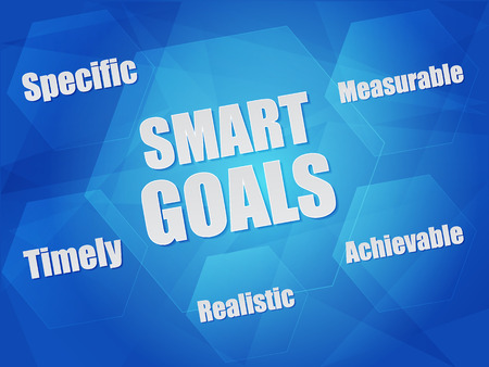 specific: smart goals - specific, measurable, achievable, realistic, timely - concept words in hexagons over blue background, flat design