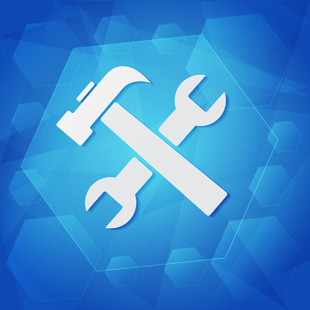 tools sign - white symbol over blue background, flat design, business service concept