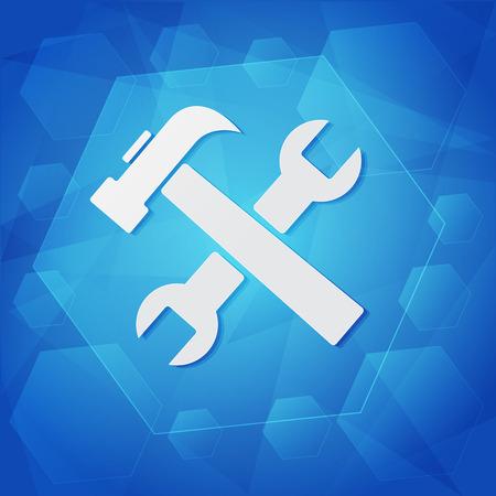 uphold: tools sign - white symbol over blue background, flat design, business service concept