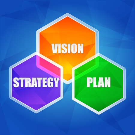 headway: vision, strategy, plan - business growth concept words in color hexagons over blue background, flat design Illustration