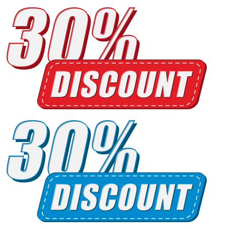 selling off: 30 percentages discount in two colors labels, business shopping concept, flat design