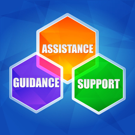 guidance: assistance, support, guidance - business concept words in color hexagons over blue background, flat design