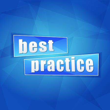 ingenious: best practice over blue background, flat design, business concept words