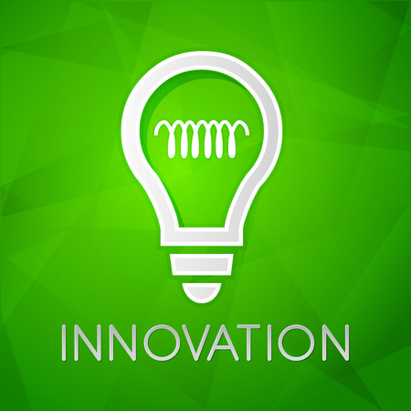 ingenious: innovation and light bulb sign - text over green background with white symbol, concept web icon flat design