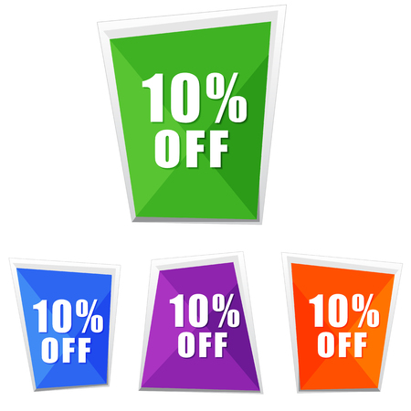 selling off: 10 percentages off, four colors labels, flat design, business shopping concept