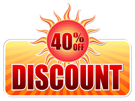 selling off: summer discount and 40 percentages off banner - text in yellow label with red sun and orange sunrays, business concept, vector