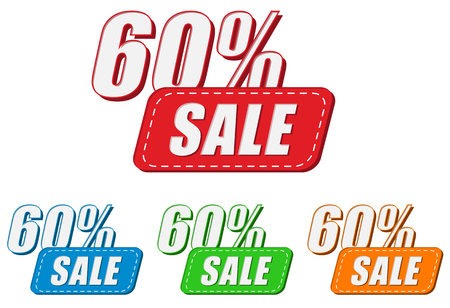 selling off: 60 percentages sale, four colors labels, flat design, business shopping concept, vector