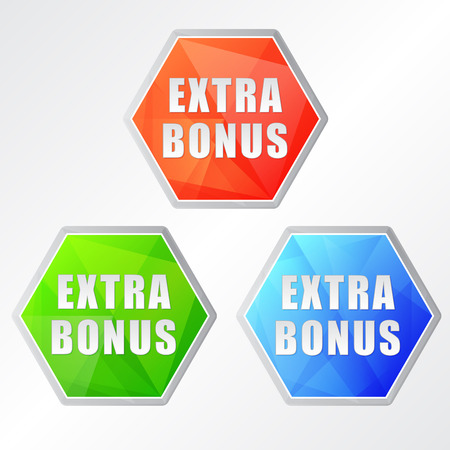 extra money: extra bonus, three colors hexagons labels, flat design, business shopping concept, vector