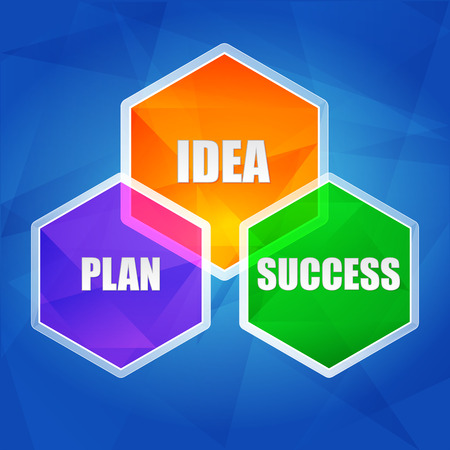 ingenious: idea, plan, success - business creative concept words in color hexagons over blue background, flat design, vector Illustration