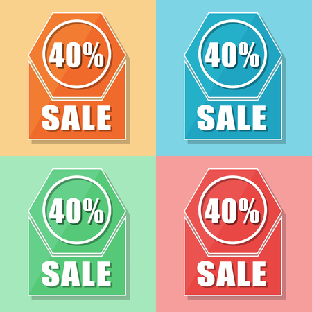selling off: 40 percentages sale, four colors web icons, flat design, business shopping concept, vector Illustration