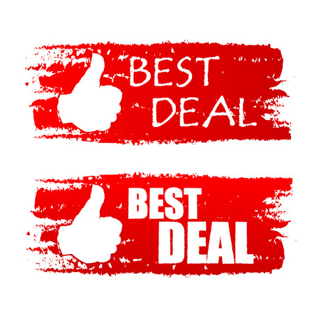 abatement: best deal banners - text in red drawn labels with white thumb up symbols, business shopping concept, vector Illustration