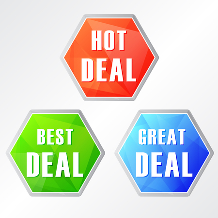 three colors: hot deal, three colors hexagons web icons, flat design, business shopping concept, vector Illustration