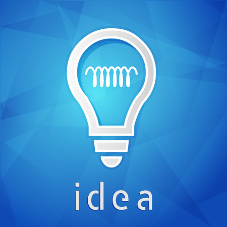 ingenious: idea and light bulb sign - text over blue background with white symbol, concept web icon flat design, vector