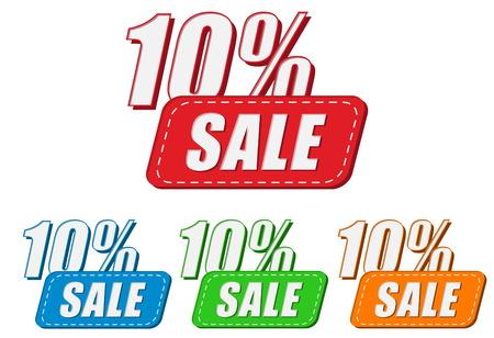 selling off: 10 percentages sale, four colors labels, flat design, business shopping concept, vector Illustration