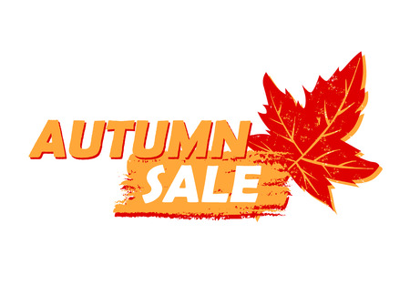 sign orange: autumn sale banner - text in yellow and orange drawn label with leaf sign, business seasonal shopping concept, vector Illustration