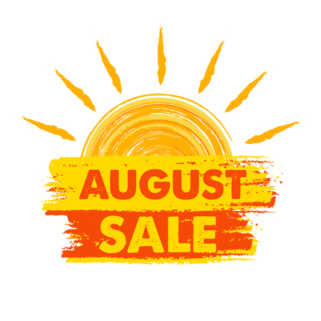 seasonal symbol: august sale summer banner - text in yellow and orange drawn label with sun symbol, business seasonal shopping concept, vector Illustration
