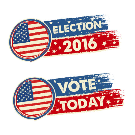 USA election 2016 and vote today with american flag, text drawn banners, political concept, vector Illustration