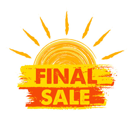 seasonal symbol: final sale banner - text in yellow and orange drawn label with sun symbol, business seasonal shopping concept, vector