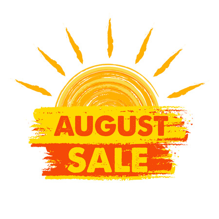 seasonal symbol: august sale summer banner - text in yellow and orange drawn label with sun symbol, business seasonal shopping concept