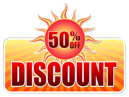 selling off: summer discount and 50 percentages off banner - text in yellow label with red sun and orange sunrays, business concept, vector