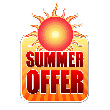 red sun: summer offer banner - text in yellow label with red sun and orange sunrays, business concept, vector Illustration