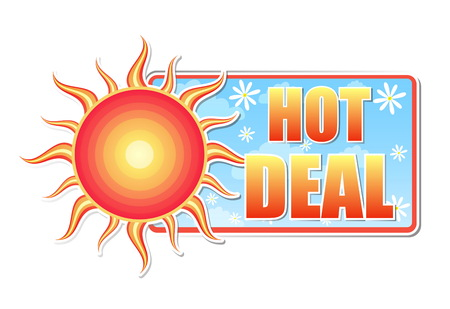 trade off: hot deal banner - text in blue label with red yellow sun and white daisy flowers, business concept, vector