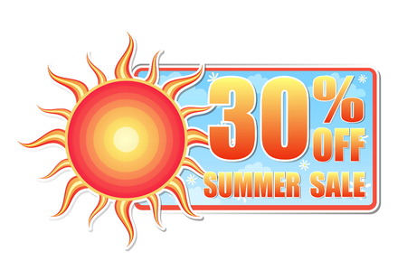 percentages: 30 percentages off summer sale banner - text in blue label with red yellow sun and white daisy flowers, business concept, vector Illustration