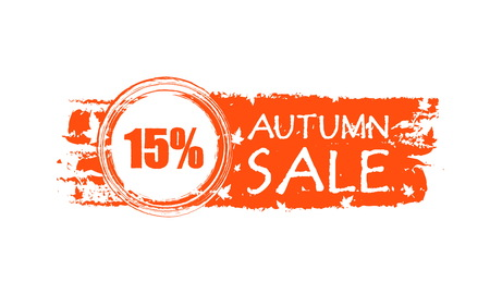 percentages: autumn sale with 15 percentages - orange drawn banner with text and fall leaf, business concept, vector