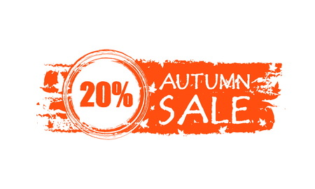 percentages: autumn sale with 20 percentages - orange drawn banner with text and fall leaf, business concept, vector