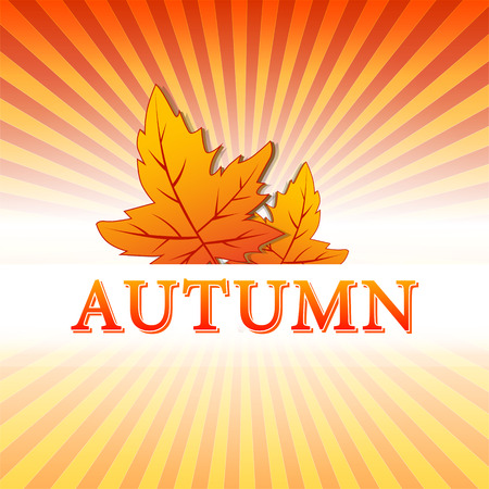 abstract illustration with text autumn and drawn fall leaves over yellow orange red gradient rays, vector