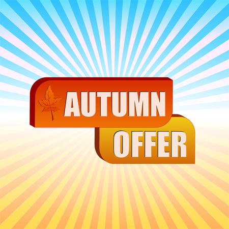 selling off: autumn offer - text in boxes with fall leaf over yellow orange blue gradient rays, business label, vector