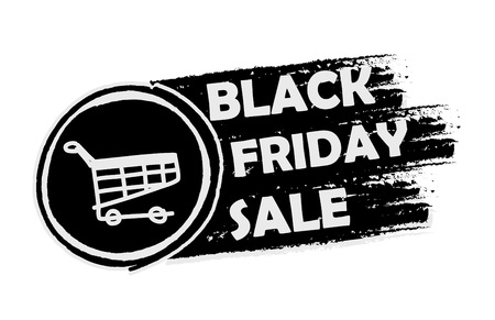 deduction: black friday sale with shopping cart banner - text and sign in drawn label, business seasonal shopping concept, vector Illustration