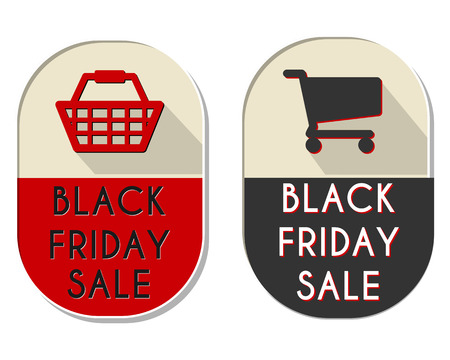 holiday shopping: black friday sale with shopping basket and cart signs - two elliptic flat design labels, business holiday commerce concept, vector