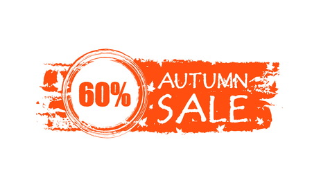 percentages: autumn sale with 60 percentages - orange drawn banner with text and fall leaves, business concept, vector
